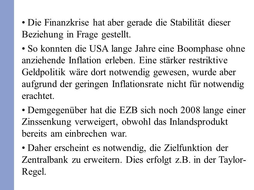 Die Finanzkrise hat aber gerade die Stabilität dieser Beziehung in Frage gestellt. So konnten die USA lange Jahre eine Boomphase ohne anziehende Infla