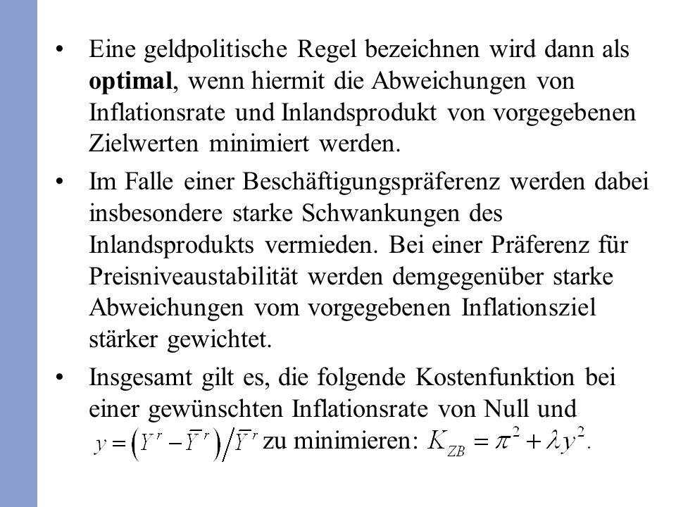 Eine geldpolitische Regel bezeichnen wird dann als optimal, wenn hiermit die Abweichungen von Inflationsrate und Inlandsprodukt von vorgegebenen Zielw