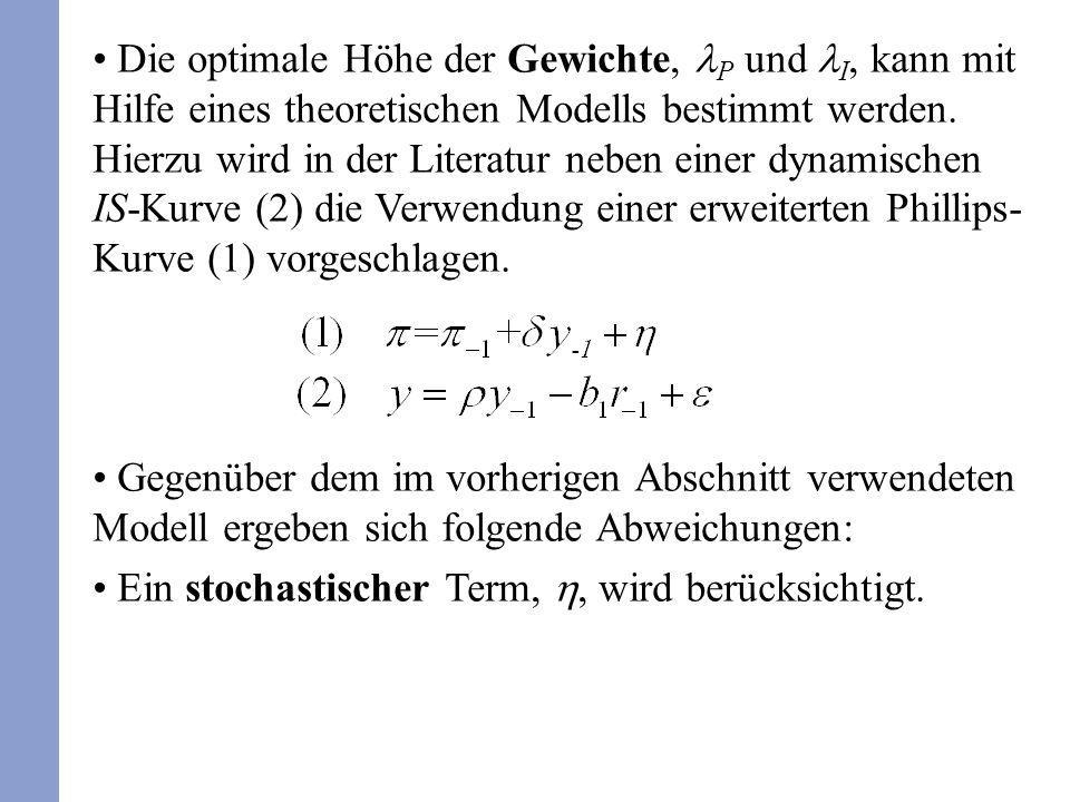 Die optimale Höhe der Gewichte, P und I, kann mit Hilfe eines theoretischen Modells bestimmt werden. Hierzu wird in der Literatur neben einer dynamisc