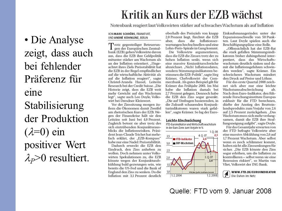 Die Analyse zeigt, dass auch bei fehlender Präferenz für eine Stabilisierung der Produktion ( =0) ein positiver Wert P >0 resultiert. Quelle: FTD vom