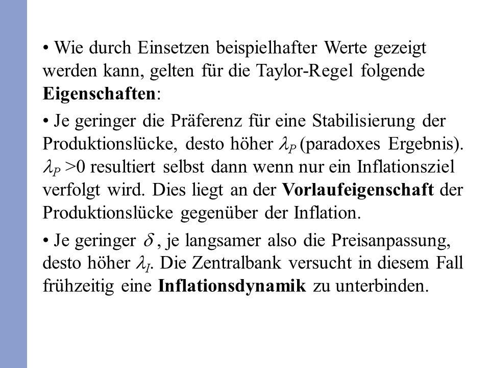 Wie durch Einsetzen beispielhafter Werte gezeigt werden kann, gelten für die Taylor-Regel folgende Eigenschaften: Je geringer die Präferenz für eine S