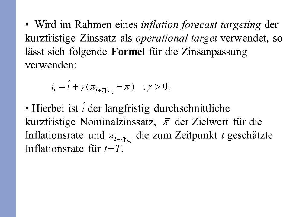 Wird im Rahmen eines inflation forecast targeting der kurzfristige Zinssatz als operational target verwendet, so lässt sich folgende Formel für die Zi