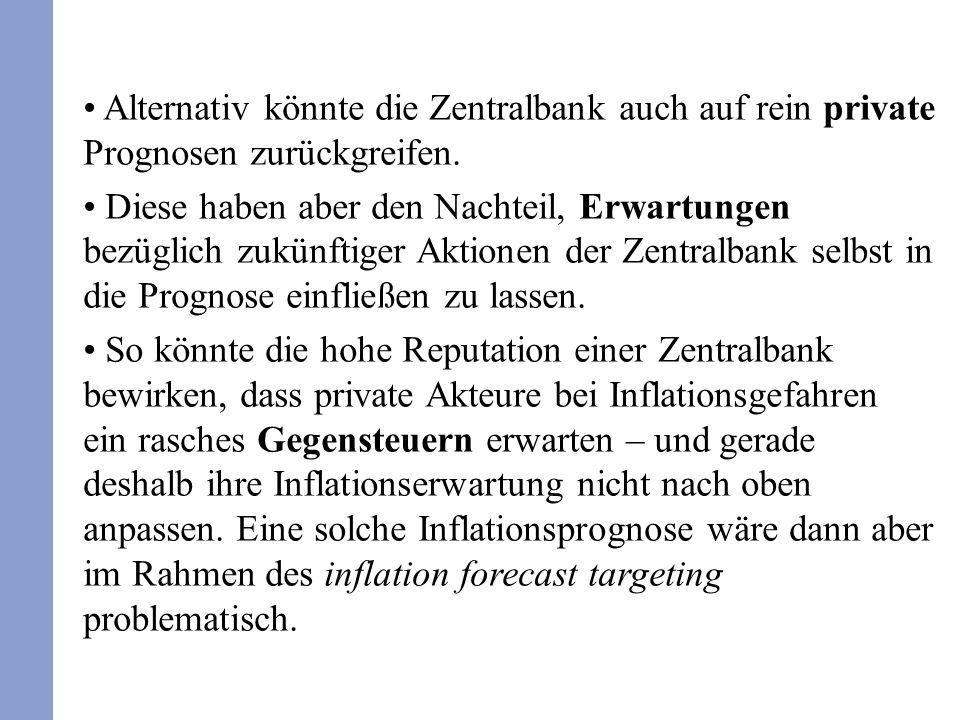 Alternativ könnte die Zentralbank auch auf rein private Prognosen zurückgreifen. Diese haben aber den Nachteil, Erwartungen bezüglich zukünftiger Akti