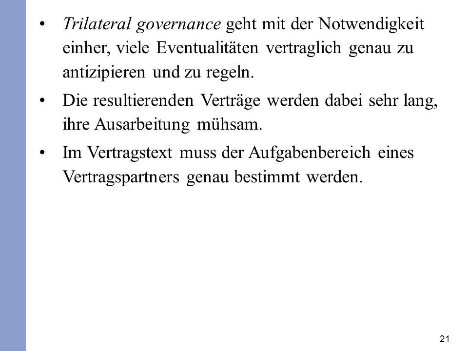21 Trilateral governance geht mit der Notwendigkeit einher, viele Eventualitäten vertraglich genau zu antizipieren und zu regeln. Die resultierenden V