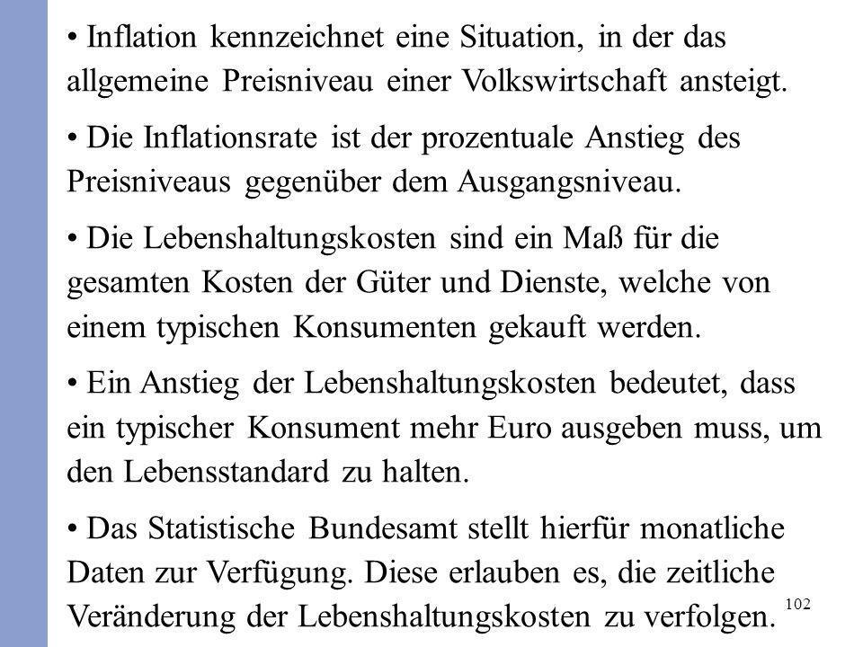 102 Inflation kennzeichnet eine Situation, in der das allgemeine Preisniveau einer Volkswirtschaft ansteigt. Die Inflationsrate ist der prozentuale An