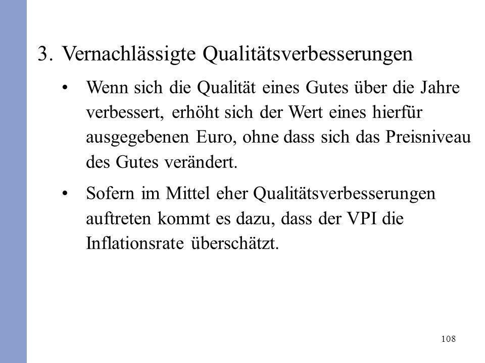 108 3.Vernachlässigte Qualitätsverbesserungen Wenn sich die Qualität eines Gutes über die Jahre verbessert, erhöht sich der Wert eines hierfür ausgege