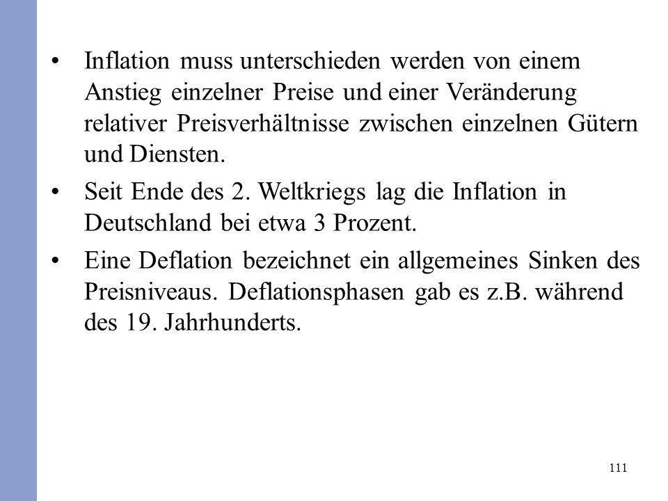 111 Inflation muss unterschieden werden von einem Anstieg einzelner Preise und einer Veränderung relativer Preisverhältnisse zwischen einzelnen Gütern