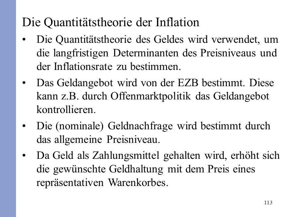 113 Die Quantitätstheorie der Inflation Die Quantitätstheorie des Geldes wird verwendet, um die langfristigen Determinanten des Preisniveaus und der I