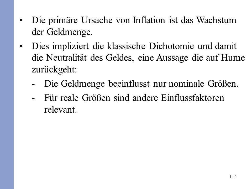 114 Die primäre Ursache von Inflation ist das Wachstum der Geldmenge. Dies impliziert die klassische Dichotomie und damit die Neutralität des Geldes,