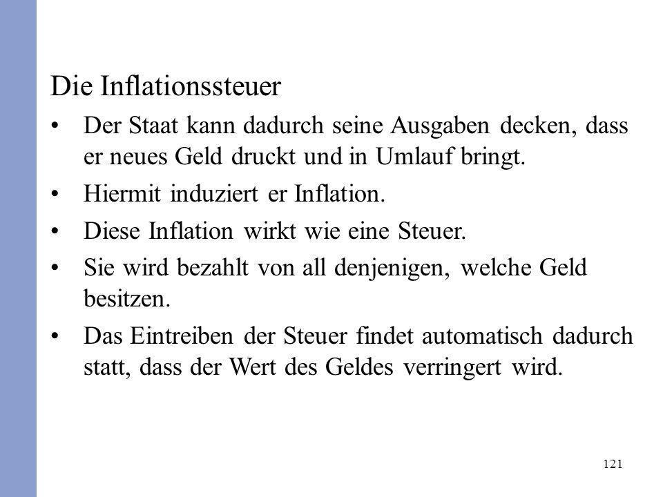 121 Die Inflationssteuer Der Staat kann dadurch seine Ausgaben decken, dass er neues Geld druckt und in Umlauf bringt. Hiermit induziert er Inflation.