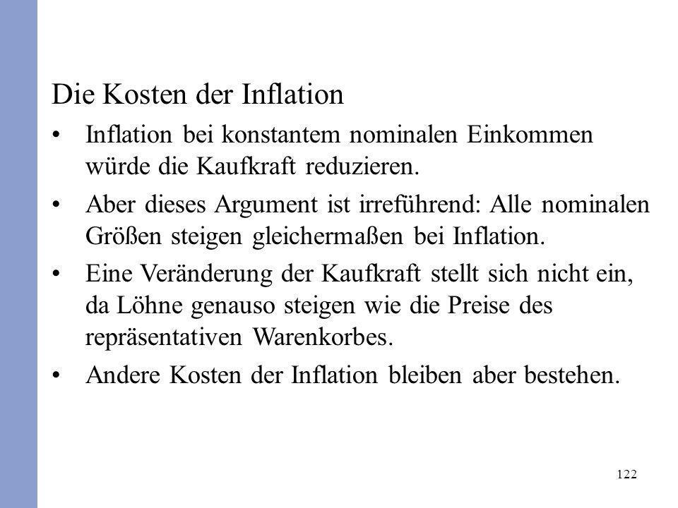 122 Die Kosten der Inflation Inflation bei konstantem nominalen Einkommen würde die Kaufkraft reduzieren. Aber dieses Argument ist irreführend: Alle n