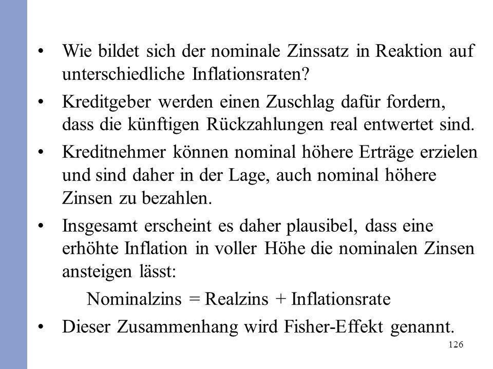 126 Wie bildet sich der nominale Zinssatz in Reaktion auf unterschiedliche Inflationsraten? Kreditgeber werden einen Zuschlag dafür fordern, dass die