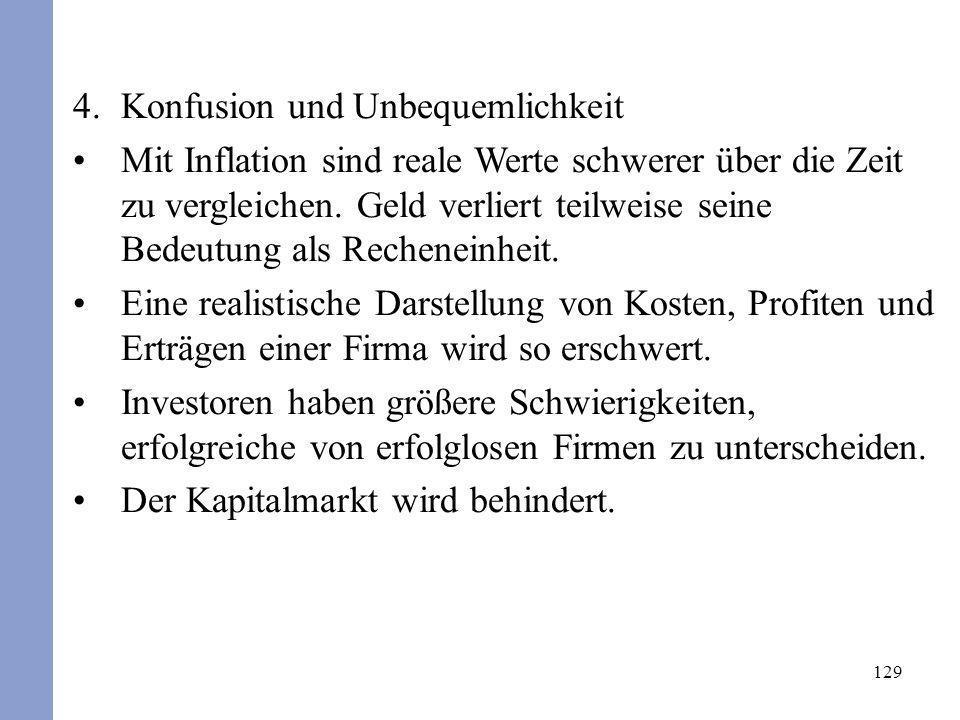 129 4.Konfusion und Unbequemlichkeit Mit Inflation sind reale Werte schwerer über die Zeit zu vergleichen. Geld verliert teilweise seine Bedeutung als