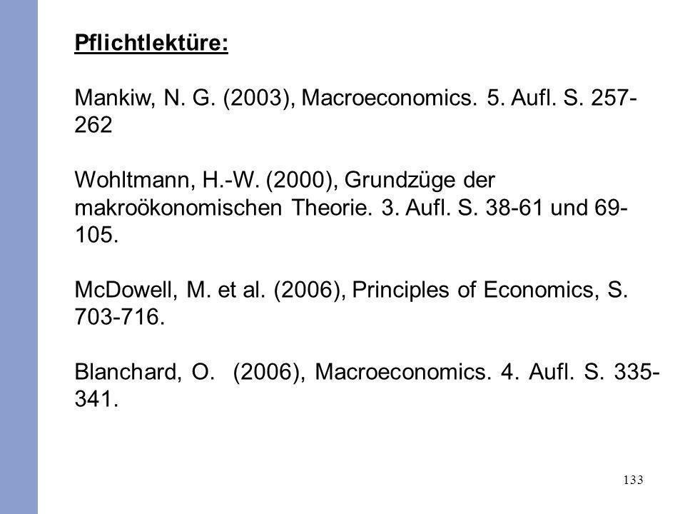 133 Pflichtlektüre: Mankiw, N. G. (2003), Macroeconomics. 5. Aufl. S. 257- 262 Wohltmann, H.-W. (2000), Grundzüge der makroökonomischen Theorie. 3. Au