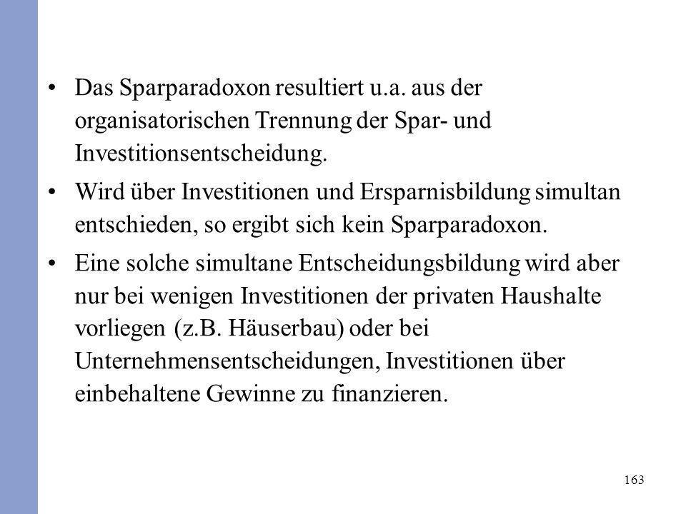 163 Das Sparparadoxon resultiert u.a. aus der organisatorischen Trennung der Spar- und Investitionsentscheidung. Wird über Investitionen und Ersparnis