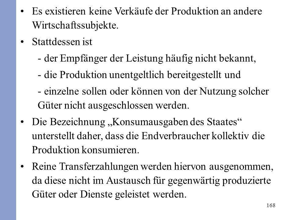 168 Es existieren keine Verkäufe der Produktion an andere Wirtschaftssubjekte. Stattdessen ist - der Empfänger der Leistung häufig nicht bekannt, - di