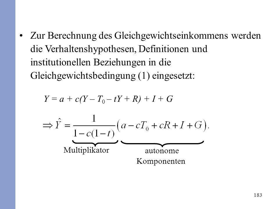 183 Zur Berechnung des Gleichgewichtseinkommens werden die Verhaltenshypothesen, Definitionen und institutionellen Beziehungen in die Gleichgewichtsbe