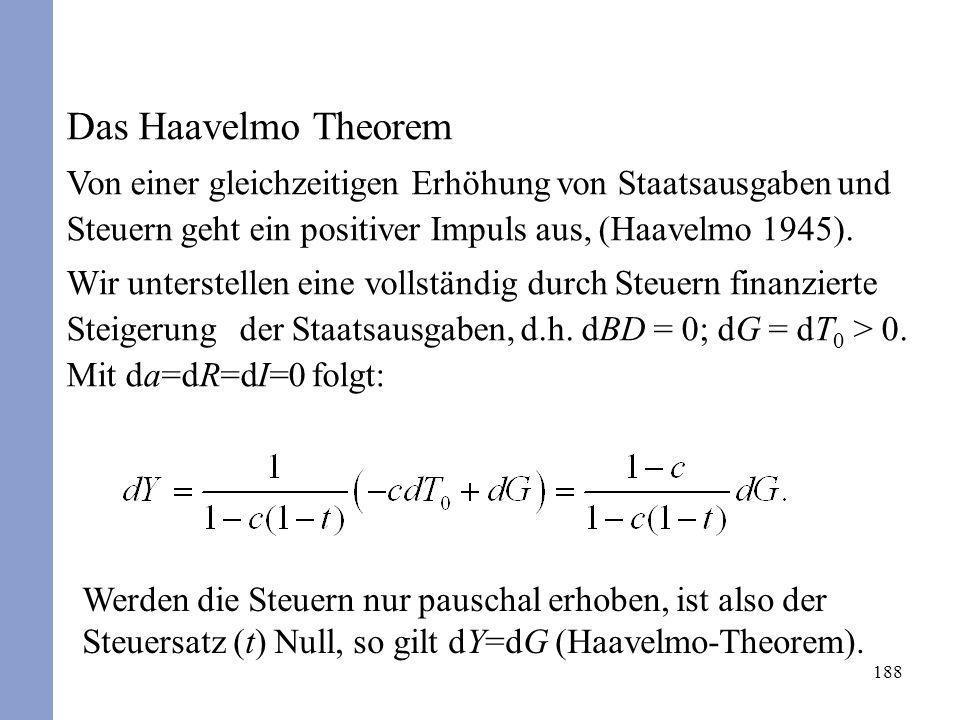 188 Das Haavelmo Theorem Von einer gleichzeitigen Erhöhung von Staatsausgaben und Steuern geht ein positiver Impuls aus, (Haavelmo 1945). Wir unterste
