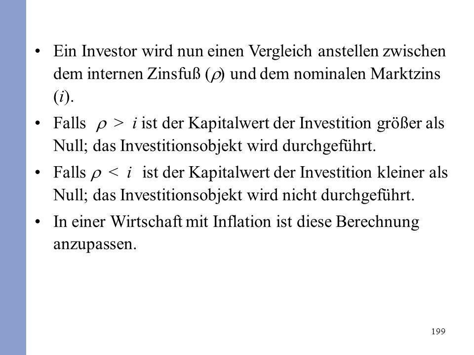199 Ein Investor wird nun einen Vergleich anstellen zwischen dem internen Zinsfuß ( ) und dem nominalen Marktzins (i). Falls > i ist der Kapitalwert d