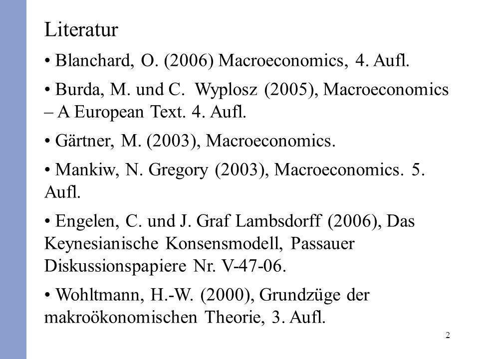 2 Literatur Blanchard, O. (2006) Macroeconomics, 4. Aufl. Burda, M. und C. Wyplosz (2005), Macroeconomics – A European Text. 4. Aufl. Gärtner, M. (200