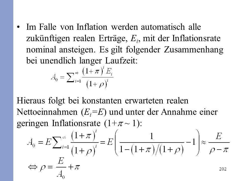 202 Im Falle von Inflation werden automatisch alle zukünftigen realen Erträge, E i, mit der Inflationsrate nominal ansteigen. Es gilt folgender Zusamm
