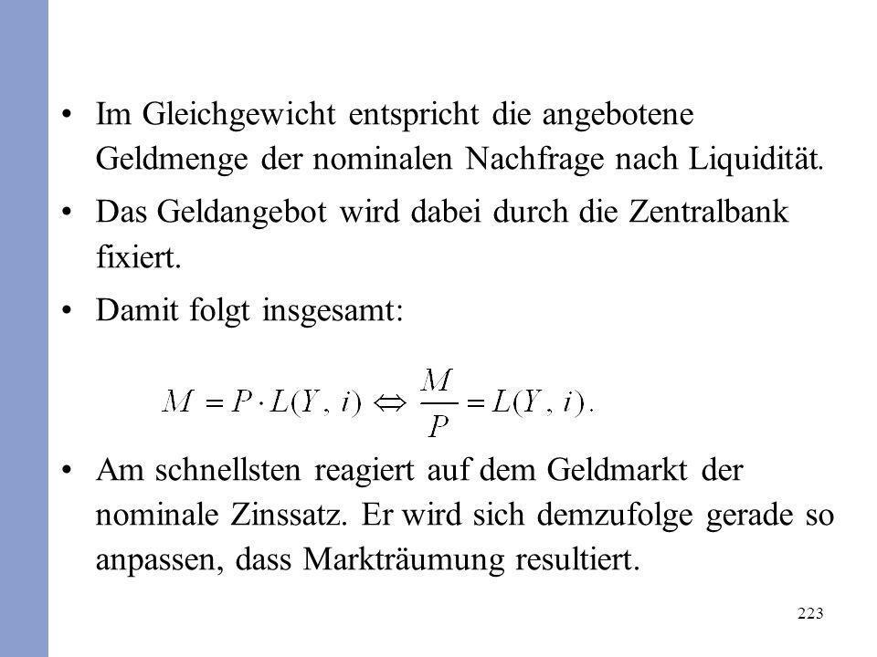 223 Im Gleichgewicht entspricht die angebotene Geldmenge der nominalen Nachfrage nach Liquidität. Das Geldangebot wird dabei durch die Zentralbank fix