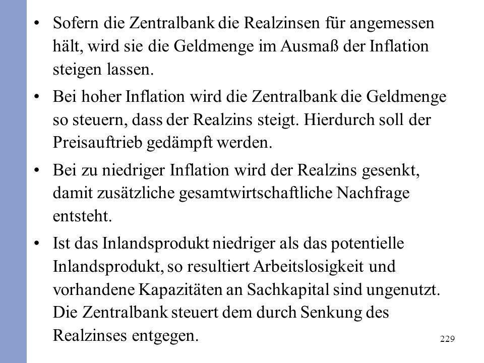 229 Sofern die Zentralbank die Realzinsen für angemessen hält, wird sie die Geldmenge im Ausmaß der Inflation steigen lassen. Bei hoher Inflation wird
