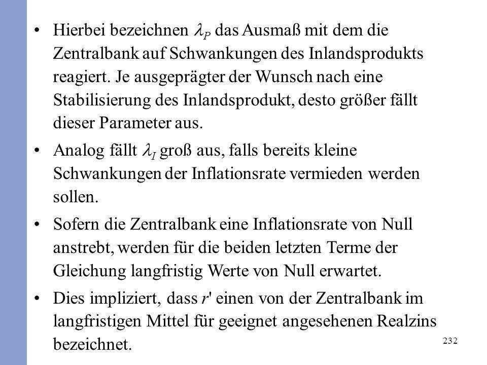 232 Hierbei bezeichnen P das Ausmaß mit dem die Zentralbank auf Schwankungen des Inlandsprodukts reagiert. Je ausgeprägter der Wunsch nach eine Stabil