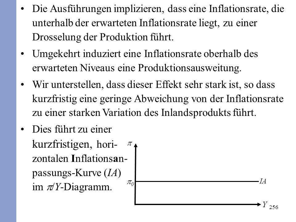 256 Die Ausführungen implizieren, dass eine Inflationsrate, die unterhalb der erwarteten Inflationsrate liegt, zu einer Drosselung der Produktion führ