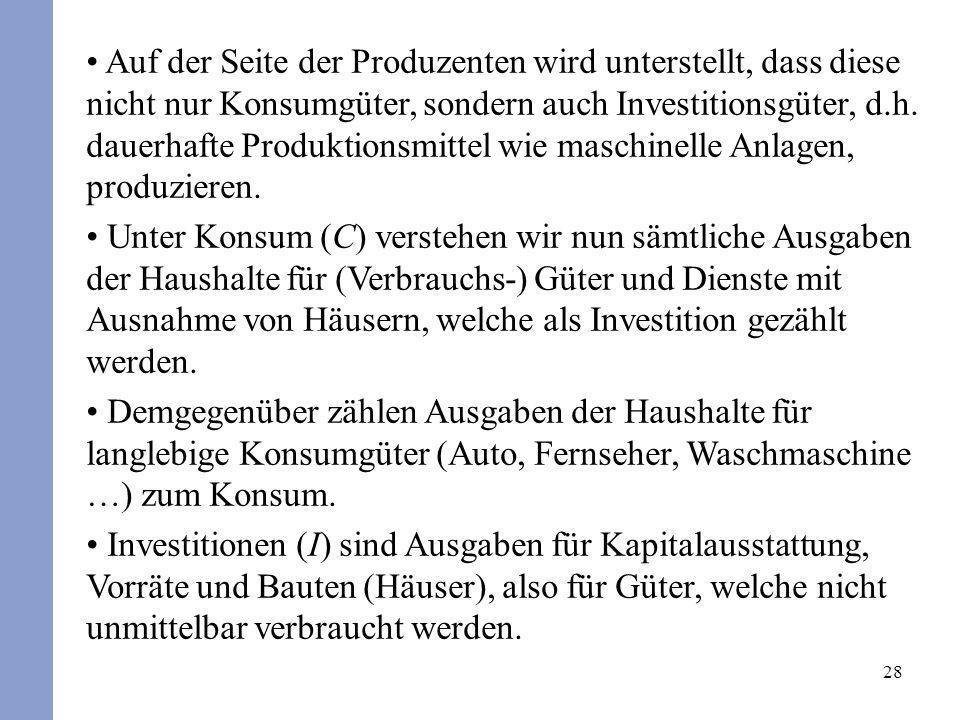 28 Auf der Seite der Produzenten wird unterstellt, dass diese nicht nur Konsumgüter, sondern auch Investitionsgüter, d.h. dauerhafte Produktionsmittel