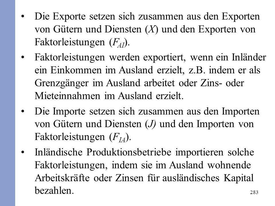 283 Die Exporte setzen sich zusammen aus den Exporten von Gütern und Diensten (X) und den Exporten von Faktorleistungen (F AI ). Faktorleistungen werd
