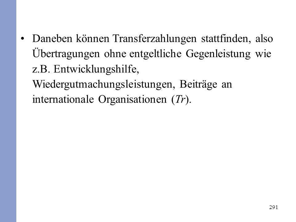291 Daneben können Transferzahlungen stattfinden, also Übertragungen ohne entgeltliche Gegenleistung wie z.B. Entwicklungshilfe, Wiedergutmachungsleis