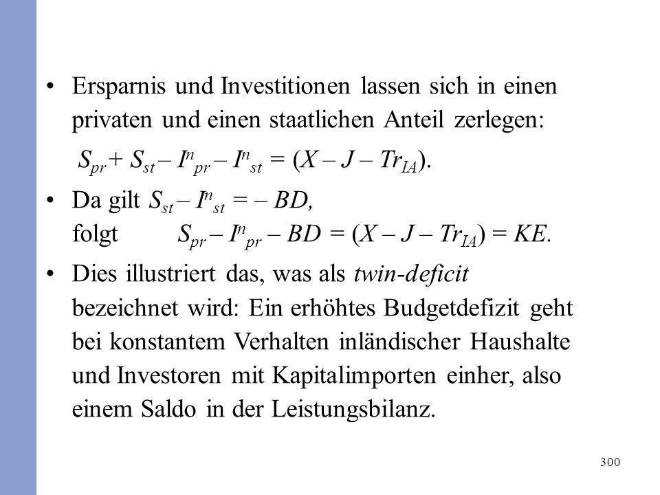 300 Ersparnis und Investitionen lassen sich in einen privaten und einen staatlichen Anteil zerlegen: S pr + S st – I n pr – I n st = (X – J – Tr IA ).