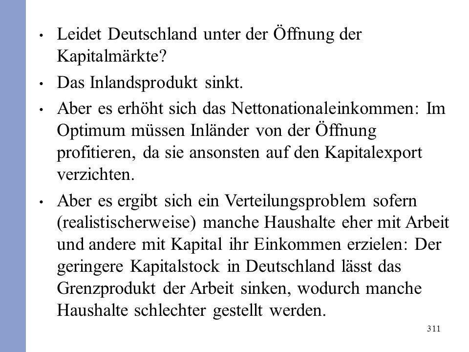 311 Leidet Deutschland unter der Öffnung der Kapitalmärkte? Das Inlandsprodukt sinkt. Aber es erhöht sich das Nettonationaleinkommen: Im Optimum müsse