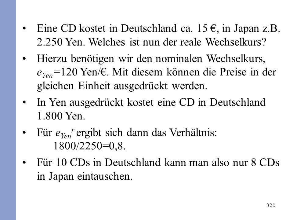 320 Eine CD kostet in Deutschland ca. 15, in Japan z.B. 2.250 Yen. Welches ist nun der reale Wechselkurs? Hierzu benötigen wir den nominalen Wechselku