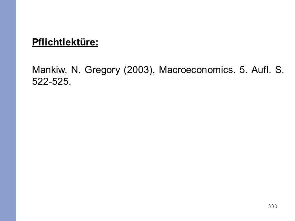 330 Pflichtlektüre: Mankiw, N. Gregory (2003), Macroeconomics. 5. Aufl. S. 522-525.