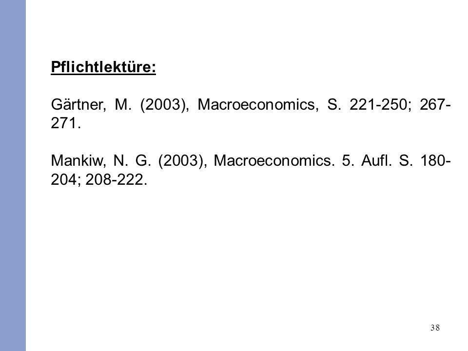 38 Pflichtlektüre: Gärtner, M. (2003), Macroeconomics, S. 221-250; 267- 271. Mankiw, N. G. (2003), Macroeconomics. 5. Aufl. S. 180- 204; 208-222.