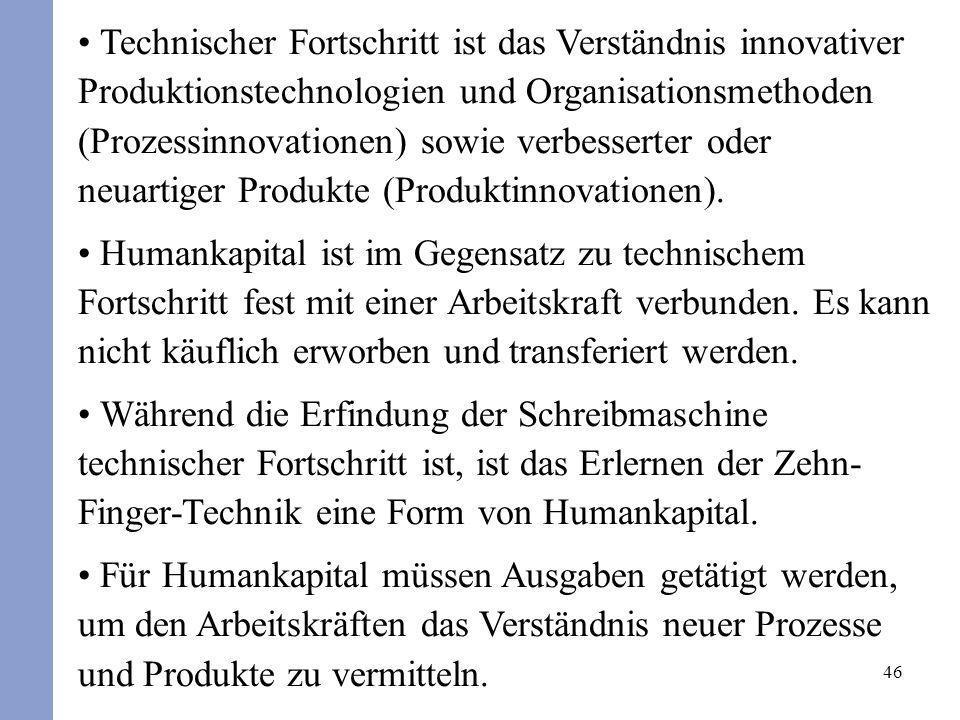 46 Technischer Fortschritt ist das Verständnis innovativer Produktionstechnologien und Organisationsmethoden (Prozessinnovationen) sowie verbesserter