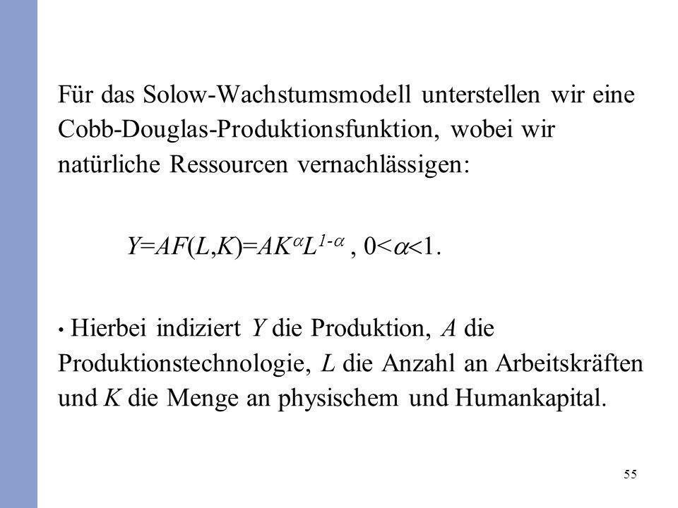 55 Für das Solow-Wachstumsmodell unterstellen wir eine Cobb-Douglas-Produktionsfunktion, wobei wir natürliche Ressourcen vernachlässigen: Y=AF(L,K)=AK
