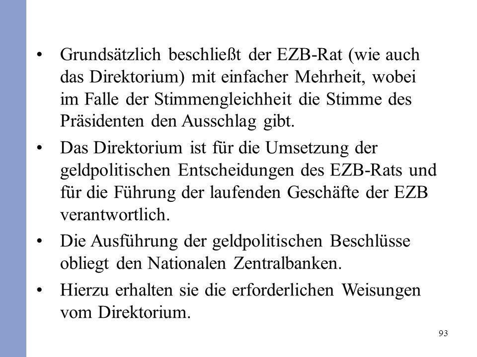 93 Grundsätzlich beschließt der EZB-Rat (wie auch das Direktorium) mit einfacher Mehrheit, wobei im Falle der Stimmengleichheit die Stimme des Präside