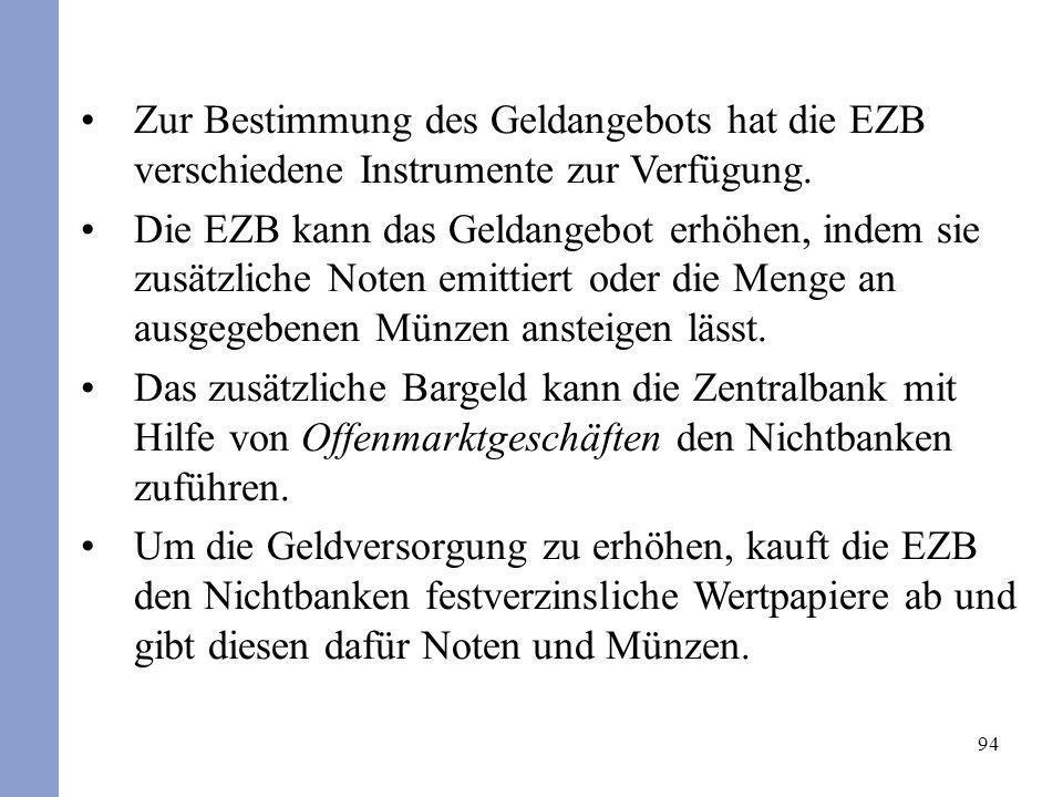 94 Zur Bestimmung des Geldangebots hat die EZB verschiedene Instrumente zur Verfügung. Die EZB kann das Geldangebot erhöhen, indem sie zusätzliche Not