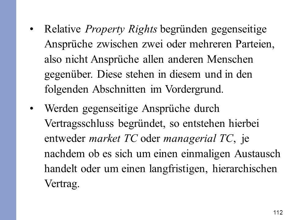 112 Relative Property Rights begründen gegenseitige Ansprüche zwischen zwei oder mehreren Parteien, also nicht Ansprüche allen anderen Menschen gegenü