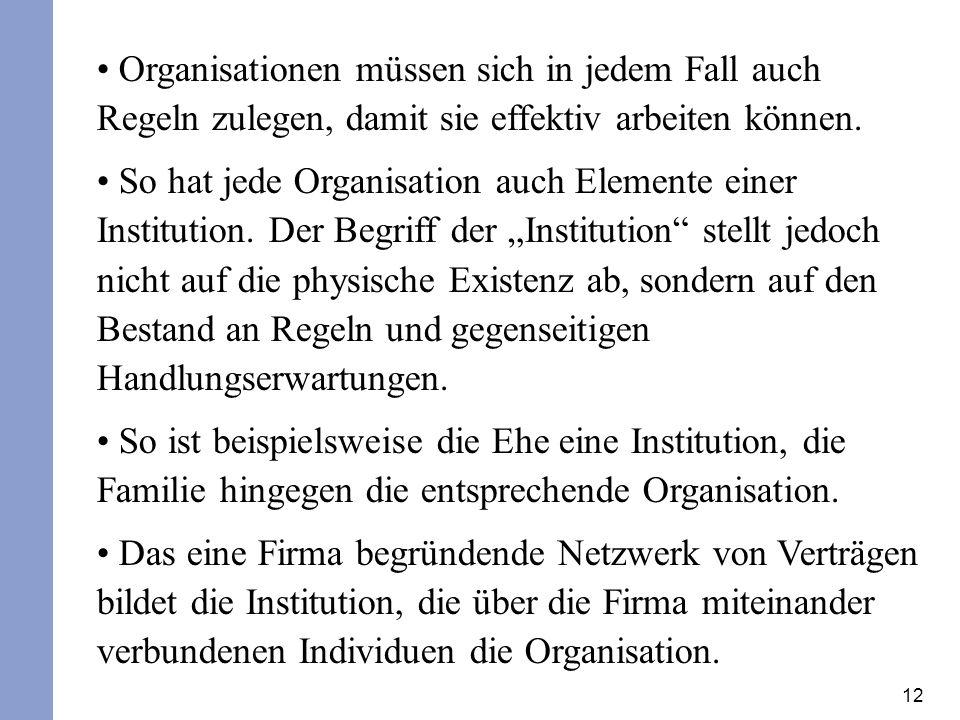 12 Organisationen müssen sich in jedem Fall auch Regeln zulegen, damit sie effektiv arbeiten können. So hat jede Organisation auch Elemente einer Inst