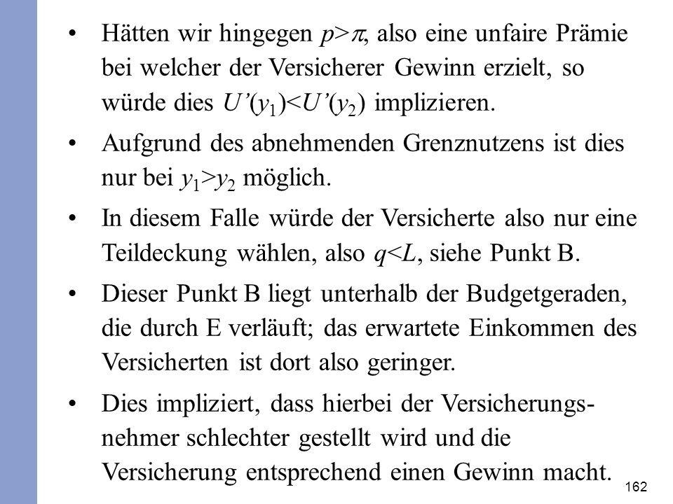 162 Hätten wir hingegen p>, also eine unfaire Prämie bei welcher der Versicherer Gewinn erzielt, so würde dies U(y 1 )<U(y 2 ) implizieren. Aufgrund d