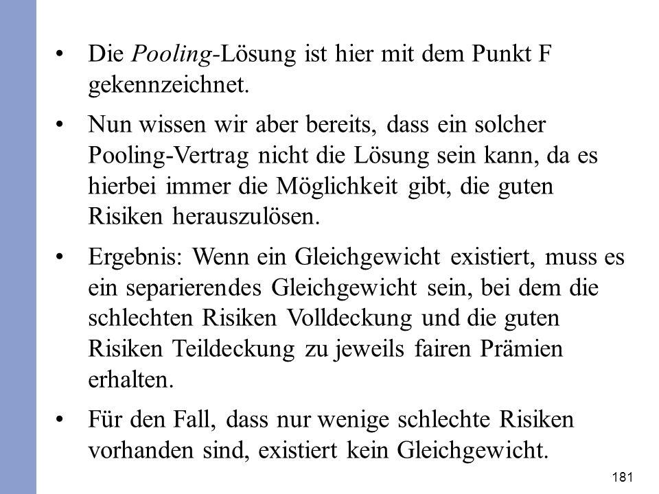 181 Die Pooling-Lösung ist hier mit dem Punkt F gekennzeichnet. Nun wissen wir aber bereits, dass ein solcher Pooling-Vertrag nicht die Lösung sein ka
