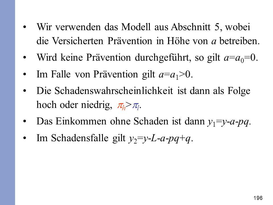 196 Wir verwenden das Modell aus Abschnitt 5, wobei die Versicherten Prävention in Höhe von a betreiben. Wird keine Prävention durchgeführt, so gilt a