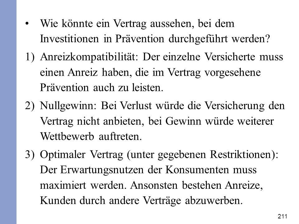 211 Wie könnte ein Vertrag aussehen, bei dem Investitionen in Prävention durchgeführt werden? 1)Anreizkompatibilität: Der einzelne Versicherte muss ei