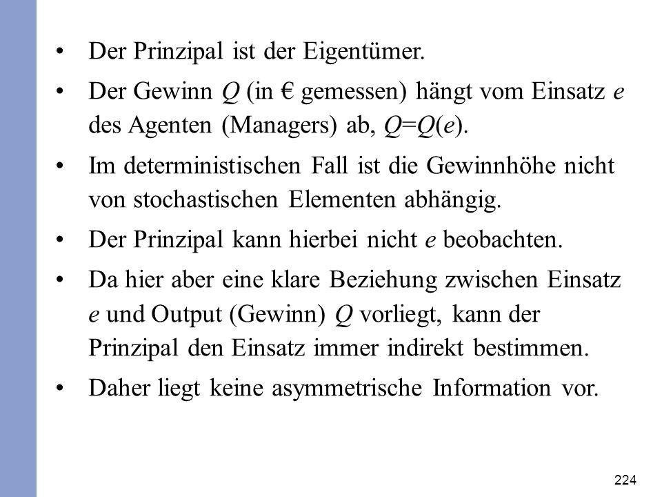224 Der Prinzipal ist der Eigentümer. Der Gewinn Q (in gemessen) hängt vom Einsatz e des Agenten (Managers) ab, Q=Q(e). Im deterministischen Fall ist