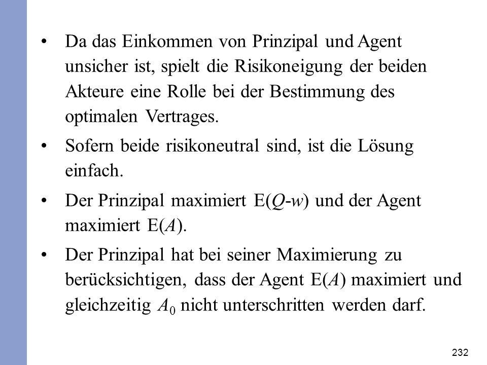 232 Da das Einkommen von Prinzipal und Agent unsicher ist, spielt die Risikoneigung der beiden Akteure eine Rolle bei der Bestimmung des optimalen Ver