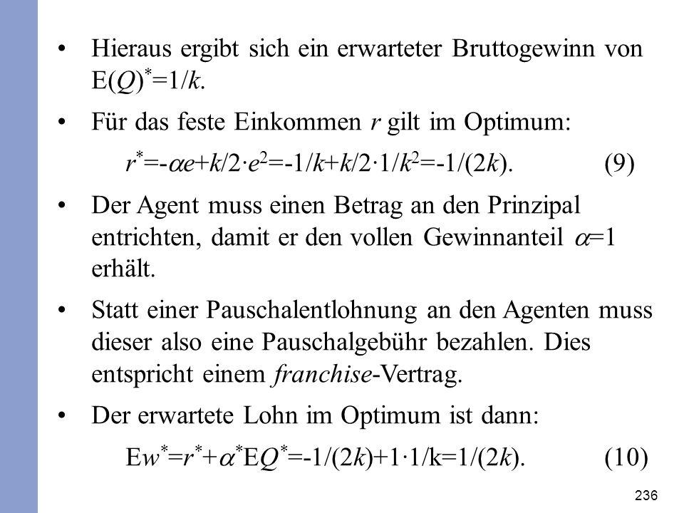 236 Hieraus ergibt sich ein erwarteter Bruttogewinn von E(Q) * =1/k. Für das feste Einkommen r gilt im Optimum: r * =- e+k/2·e 2 =-1/k+k/2·1/k 2 =-1/(